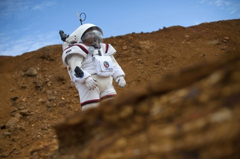 Colombian astronaut Diego Urbina tests the Gandolfi 2 spacesuit during the Moonwalk project's first Mars mission simulation in the southwestern Spanish town of Minas de Riotinto, Huelva province, on April 22, 2016.  The goal of project MOONWALK is to develop and test technologies and training procedures for future human missions to Moon and Mars.  / AFP / JORGE GUERRERO        (Photo credit should read JORGE GUERRERO/AFP/Getty Images)